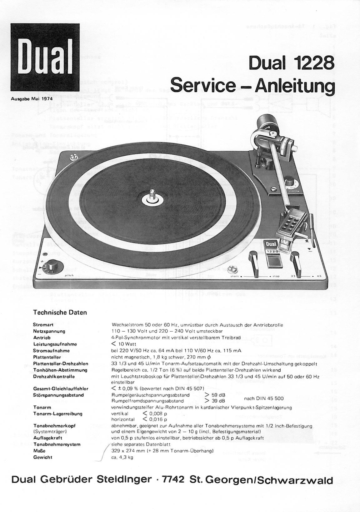 Bardzo dobra Dual 1228 Service-Anleitung YR56